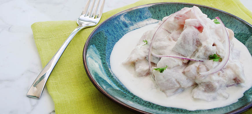 "Ceviche in ""ajo blanco"" with ginger  - simple recipe - The Kitchen doesn't Bite - Doreen Colondres"