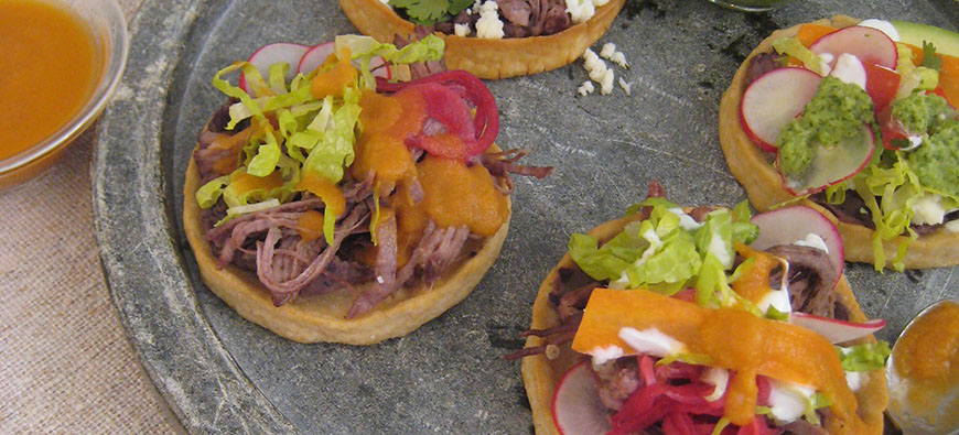 "Roasted Beef ""Sopes"" with Red Sauce and Fresh Cheese- simple recipe - The Kitchen doesn't Bite - Doreen Colondres"